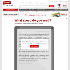 What speed do you read?  Compare your reading speed to the national average.  It also tells you how long it would take you to read classic books such as War and Peace, Catcher in the Rye, etc.