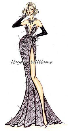 Hayden Williams Fashion Illustrations: Marilyn Monroe Anniversary by Hayden Williams Dress Design Sketches, Fashion Design Sketchbook, Fashion Design Drawings, Fashion Sketches, Fashion Drawing Dresses, Fashion Illustration Dresses, Fashion Illustrations, Fashion Art, Trendy Fashion