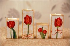 Wooden, decoupage candlestick with tulips motive Tea Candle Holders, Wooden Candle Holders, Tea Candles, Wood Block Crafts, Wooden Crafts, Diy And Crafts, Napkin Decoupage, Decoupage Box, Woodworking Candle Holder