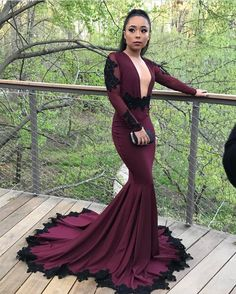 My prom girl definitely SLAYED  Custom made Burgandy lycra prom gown with black beaded lace appliqués made by me. #prom2k17 #slay #promslay #prom #prom2017 #atlantadesigner #custommade #atlantaseamstress #promgown