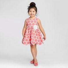 Zenzi Toddler Girl's Sleeveless Polka Dot Pique Scallop Hem A Line Dress - Coral/White