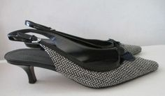 Ellen Tracy 7M Black White Chevron Kitten Heel Slingback Bow Sammy Design | eBay