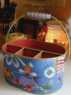 Shara Reiner Pattern Handpainted Recycled Tin Tote Front