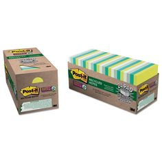 Post-it Notes Super Sticky Recycled Notes in Bora Bora Colors, 3 x 3, 70-Sheet, 24/Pack, Multi Color
