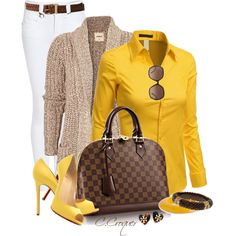 Yellow Button Shirt by ccroquer on Polyvore featuring Doublju, Burberry, Isharya, Principles by Ben de Lisi, Tory Burch, Chloé, Forever 21 and Christian Louboutin