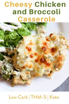 This recipe is low carb, sugar free, gluten free, grain free, keto-friendly, and a Trim Healthy Mama S Fuel. #cheesychickenandbroccolicasserole #chickencasserole #ketodinner #lowcarb #trimhealthymama