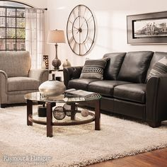 Consider Going Contemporary By Contrasting Dark Leather Upholstery With A  Light Gray Rug And Metallic Accents · Couches Living RoomsLiving Room IdeasBlack  ...