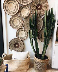 A set of 5 Tonga baskets /Binga Baskets / African Wall Decor -Free Express Shipping - vivian Decoration Chic, Basket Decoration, Baskets On Wall, Decorative Wall Baskets, Laundry Baskets, Wicker Baskets, Bohemian Decor, Diy Home Decor, Sweet Home