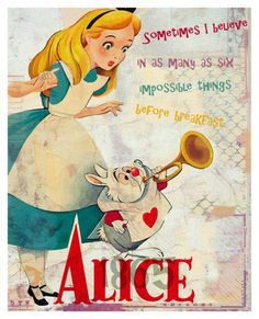 *ALICE & THE WHITE RABBIT ~ Alice in wonderland, movie released: 1951