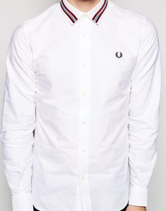 Fred Perry Shirt With Taped Collar in White for Men | Lyst