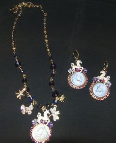 Kirk's Folly Shabby Chic Cloudwalker Unicorn Necklace and Earring Set