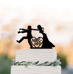 Mr and mrs Wedding Cake topper funny,   Bride and groom silhouette , cake decor,