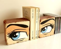 pop art bookends bookend brick home accessories office accessories deco shelf sculpture cartoon blue eyes upcycling stone (no. 37) by FancyBrick on Etsy