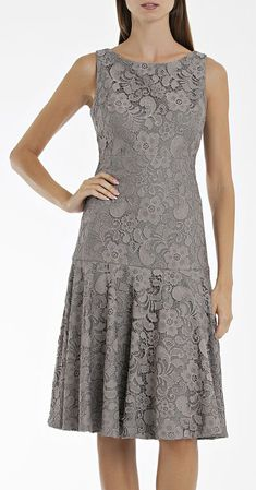 Pewter Lace Drop Waist Dress #EZONEFASHION
