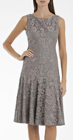 Pewter Lace Drop Waist Dress #EZONEFASHION