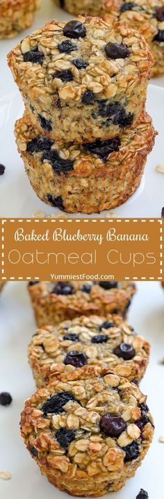Baked Blueberry Banana Oatmeal Cups - perfect and healthy way to start your day! Delicious, moist and not too sweet! These Oatmeal Cups are very easy to make, fast to eat and good choice for every occ(Baking Sweet Maple Syrup) Breakfast Muffins, Breakfast Recipes, Dessert Recipes, Healthy Breakfast Choices, Oat Muffins, Breakfast Potatoes, Recipes Dinner, Brunch Recipes, Breakfast Ideas