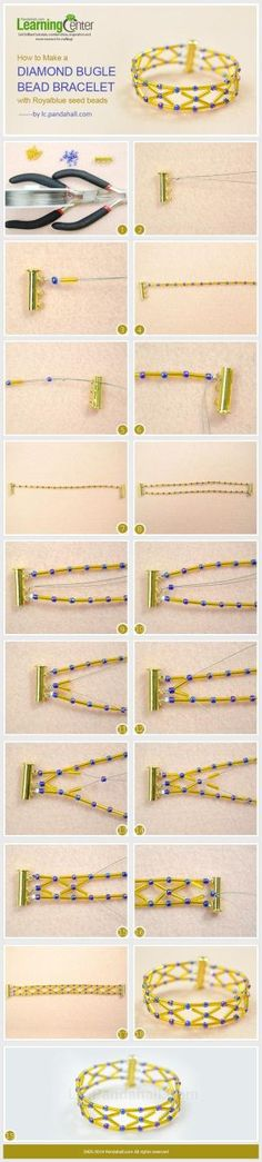 How to Make a Diamond Bugle Bead bracelet with Royalblue Seed Beads by wanting