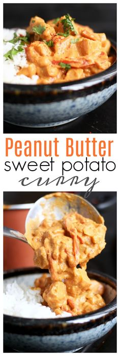 Creamy Peanut Butter Sweet Potato Curry! This curry is made entirely with whole foods, but it's rich and creamy and so decadent! It's easy to make and will definitely satisfy meat eaters and vegetarians alike! #vegan #curry #peanutbutter #sweetpotato #vegetarian #vegancurry #coconutcurry #vegandinners