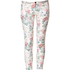 Zara 5 Pocket Floral Print Trousers (55 AUD) ❤ liked on Polyvore featuring pants, jeans, bottoms, trousers, pantalones, ecru, flower print pants, pink pants, 5 pocket pants and floral-print pants