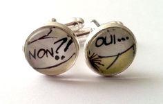 Manschettenknöpfe versilbert,  mit Comicausschnitt Motiv ø 14 mm Grösse: 14 mm x 21 mm  passende Ohrringe findet Ihr in meinem Shop unter:   ...
