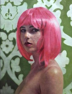 Eloy Morales - Harriet with pink hair, oil on canvas. Eloy Morales, Photorealism, Art For Art Sake, 2d Art, Illustration Sketches, Portraits, Drawing, Face Art, Pink Hair