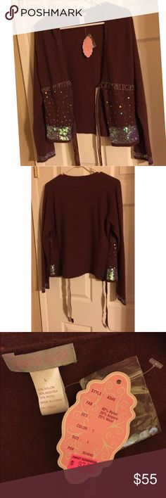 NWT Pura Vida sequin cardigan NWT brown Pura Vida sequin cardigan with tie belt. Very soft fabric! Has sequin trim on sleeve and below the sewn on tie belt. The belt is made of velvet ribbon. Size large Pura vida Sweaters Cardigans