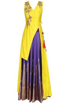 RISHI & SOUJIT Canary yellow floral embroidered jacket with purple banarasi skirt available only at Pernia's Pop Up Shop. Indian Gowns, Indian Attire, Indian Ethnic Wear, Indian Wedding Outfits, Indian Outfits, Indian Clothes, Dress Outfits, Fashion Dresses, Saree Dress