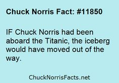 If Chuck Norris had been aboard the Titanic, the iceberg would have moved out of the way. Best Funny Jokes, Funny Quotes, Hilarious, Lyric Quotes, Quotes Quotes, Chuck Norris Funny, Famous Movie Quotes, Albert Einstein Quotes, Historical Quotes