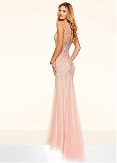 Fabulous Tulle Scoop Neckline Mermaid Evening Dresses With Beadings