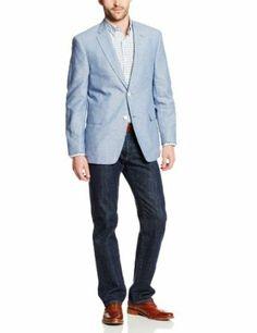 Light blue sport coat white buttons silk polka dot tie | Men