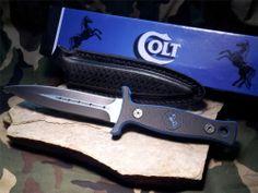 Colt Double Edge Boot knife Combat fixed Belt Dagger Black Blue Trim G10 sheath