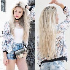 Franziska Elea - New Look Bomber, Furla Bag, Primark Hot Pants, Brandy Melville Usa Choker - Long hair don't care