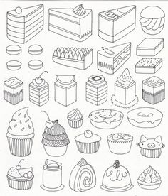 Cake & More, cute drawings, nice to print out, for my little lady, to colour!