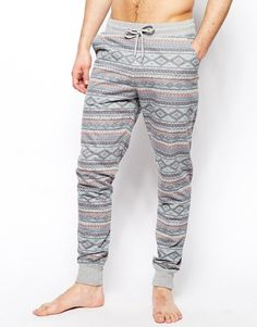 ASOS   ASOS Slim Fit Lounge Sweatpants With Aztec Print at ASOS