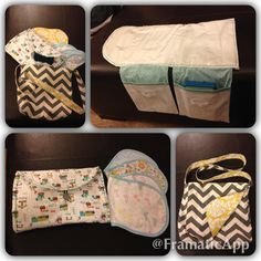 The perfect baby shower gift for a boy! Travel changing pad, burp cloths, adjustable crochet bow tie and a great bag to carry it all!