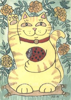 Marigolds Are Lucky Today Neko Tabby Cat and Red Ladybug 5 x 7 Art Print with Matching Note Card. $18.00, via Etsy.