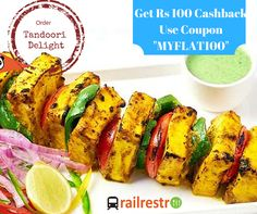 Lip smacking tanddori delight ordering is lit easier while traveling in train and also you can get Rs 100 Cashback from Railrestro. Just use the code in the image below. For more info call us at 8102888111