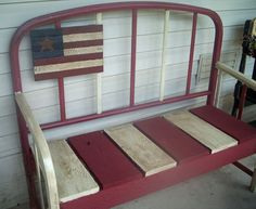 bench dad has a bed frame like this just need& a little paint Bed Frame Bench, Headboard Benches, Paint Headboard, Headboard Ideas, Headboards, Repurposed Furniture, Painted Furniture, Furniture Makeover, Diy Furniture