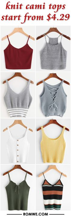 knit cami tops from $4.29 - romwe.com