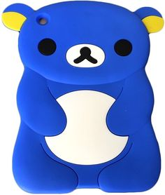 """Amazon.com: Classic Cobalt Blue {Anime Teddy Bear} Soft & Smooth Silicone Cute 3D Fitted Bumper Back Cover Gel Case for iPad Mini 1, 2 & 3 by Apple """"Durable & Slim Flexible Fashion Cover w/ Amazing Design"""": Computers & Accessories"""