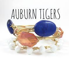 Auburn University Tigers Game Day Wire Wrapped Bangles Set, Courtney And Courtnie, Slab, Crystal Bracelet, Handmade Jewelry by CourtneyAndCourtnie on Etsy (null)