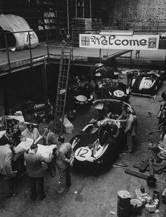 1954 Le Mans. Preparation in Jaguar garage before the Le Mans race :: via  jacqalan