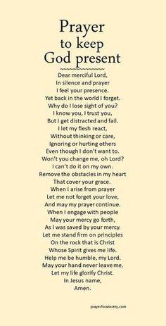 Prayer to keep God present