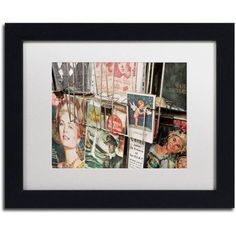 Trademark Fine Art Paris Deux - Magazine Rack Canvas Art by Yale Gurney, White Matte, Black Frame, Size: 11 x 14
