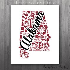 Troy Alabama Landmark State Giclée Print 8x10  by PaintedPost, $15.00 - Troy University - What a great and memorable gift for graduation, sorority, hostess, and best friend gifts! Also perfect for dorm decor! :)