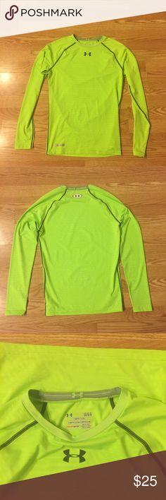 🎉HOST PICK🎉Under Armour heat gear long sleeve Size L neon green UA Heat Gear compression long sleeve shirt. Under Armour Shirts Tees - Long Sleeve