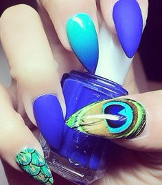 Royal cobalt blue peacock ombre nails
