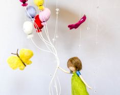 Girl with balloons, needle felted baby mobile, children room decoration, customizable