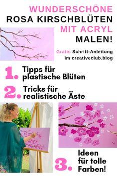 Mit nur 4 Acrylfarben gelingt dir dieses Kirschblüten-Bild ganz sicher. Ich erkläre dir in meinem Mal-Tutorial in klaren Schritten, wie das Malen der Kirschblüten funktioniert.  #acrylmalen #acrylfarben #maltutorial #kunstkurs #malen #kirschblüten #acrylmalerei ideen #acrylmalerei blumen #acryl painting #einfache Acrylbilder #acrylmalen anleitung #acrylmalen anleitung deutsch #kreative Methoden Acrylfarben #acrylmalen blumen Drawings, Creative, Illustration, Flowers, Movie Posters, Painting, Passion, Running Away, Drawing Flowers