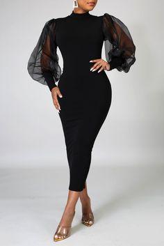 Long Sleeve Turtleneck Dress, Green Long Sleeve Dress, Black Floor Length Dress, Sleeve Dresses, Dresses Dresses, Bride Dresses, Elegant Dresses, Pretty Dresses, Casual Dresses